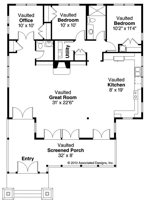 Glen Eden - 50-017 - Craftsman Home Plan - Floor Plan