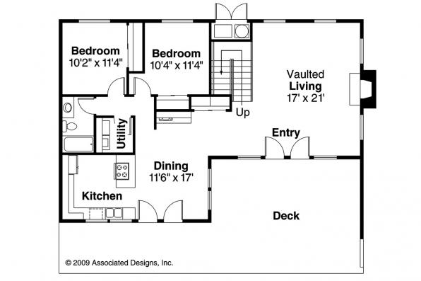 A-Frame House Plan - Cascade 10-034 - 1st Floor Plan
