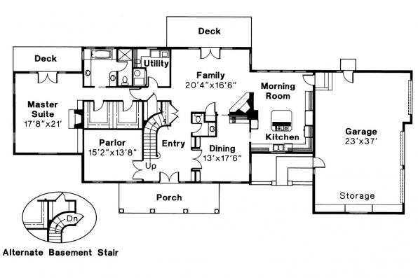 Colonial House Plan - Clairmont 10-041 - 1st Floor Plan