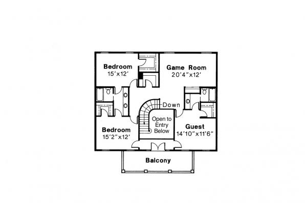 Colonial House Plan - Clairmont 10-041 - 2nd Floor Plan