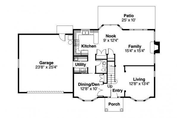 Colonial House Plan - Ellsworth 30-222 - 1st Floor Plan