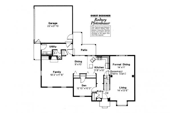 Colonial House Plan - Iverness 42-008 - 1st Floor Plan