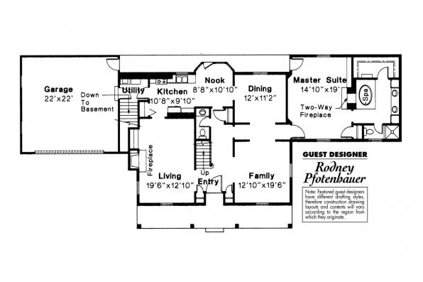 Colonial House Plan - Kinderhook 42-003 - 1st Floor Plan