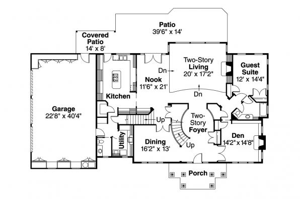 Colonial House Plan - Roxbury 30-187 - 1st Floor Plan