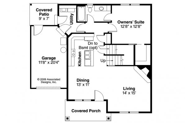 Cottage House Plan - Danville 30-284 - First Floor Plan