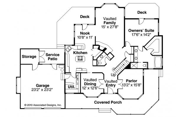 Country House Plan - Auburn 10-046 - 1st Floor Plan