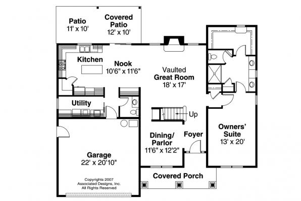 Country House Plan - Brookside 30-613 - 1st Floor Plan