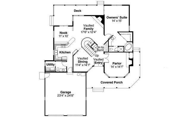 Country House Plan - Corbin 10-020 - 1st Floor Plan