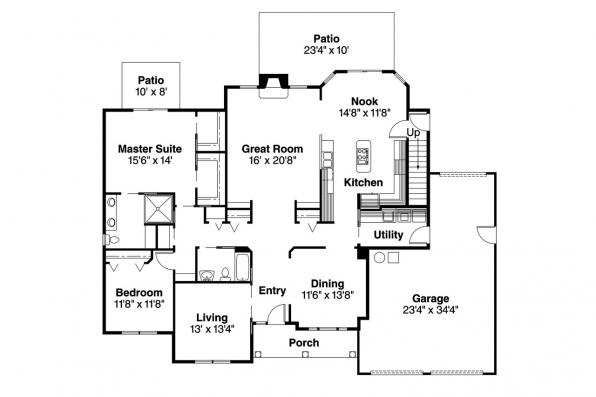 Country House Plan - Elmore 30-168 - 1st Floor Plan