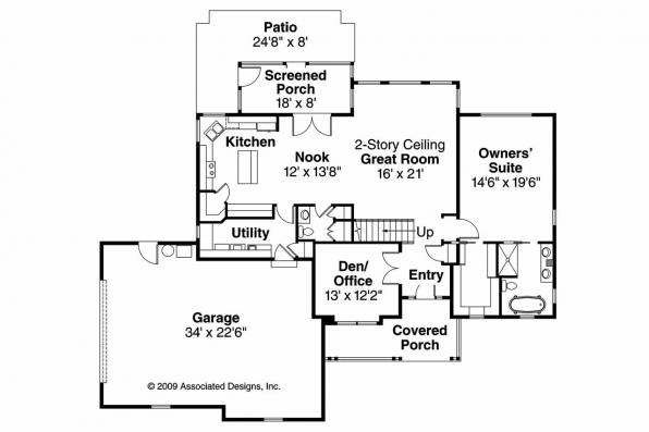 Country House Plan - Glendale 30-750 - 1st Floor Plan