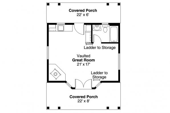 Country House Plan - Guest Cottage 30-727 - 1st Floor
