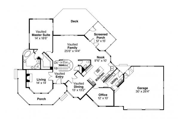 Country House Plan - Hayward 10-134 - 1st Floor Plan