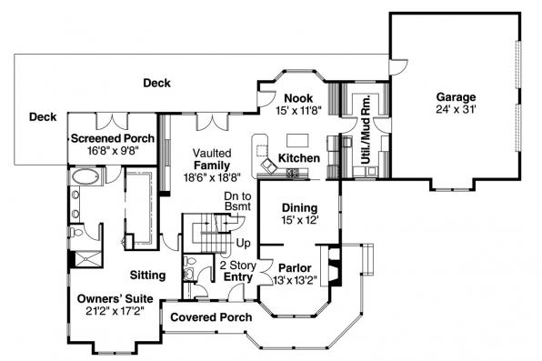 Country House Plan - Hilyard 10-408 - 1st Floor Plan