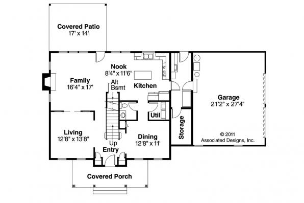 Country House Plan - Lorane 30-107 - 1st Floor Plan