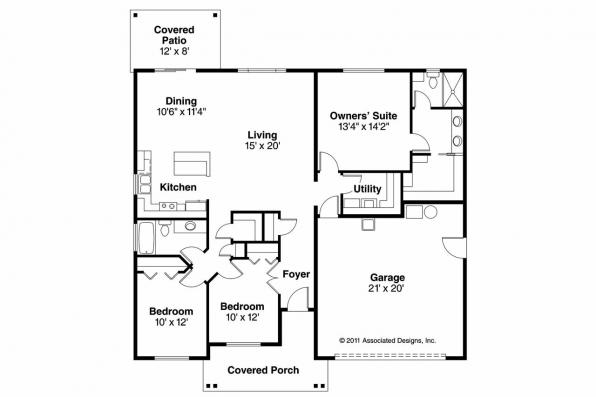 Craftsman House Plan - Bandon 30-758 - Floor Plan