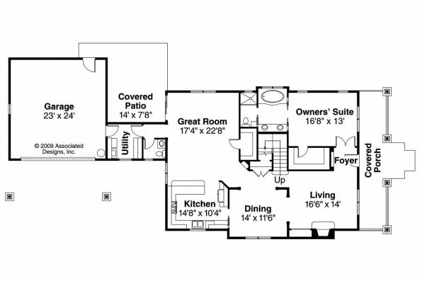 Craftsman House Plan - Fairfield 30-583 - 1st Floor Plan