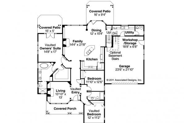 Craftsman House Plan - Heartsong 10-470 - 1st Floor Plan