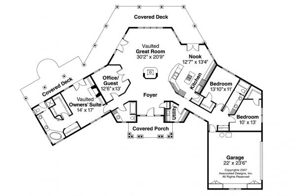 Craftsman House Plan - Oceanview 10-258 - Floor Plan