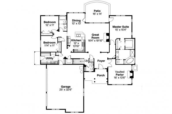 Craftsman House Plan - Palmer 30-416 - 1st Floor Plan