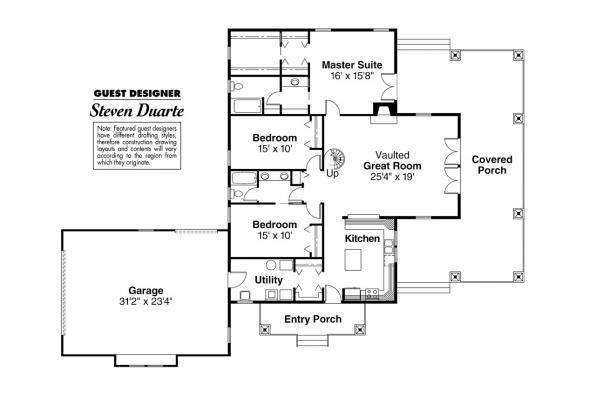 Craftsman House Plan - Palo Verde 41-015 - 1st Floor Plan