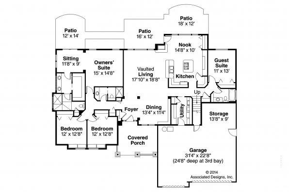 Craftsman House Plan - Pinedale 30-228 - First Floor Plan