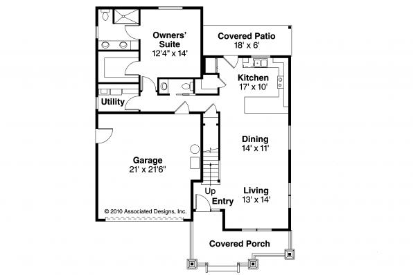 Craftsman House Plan - Rockspring 30-897 - First Floor Plan