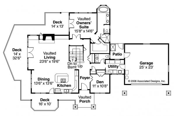 Craftsman House Plan - Stratford 30-615 - 1st Floor Plan
