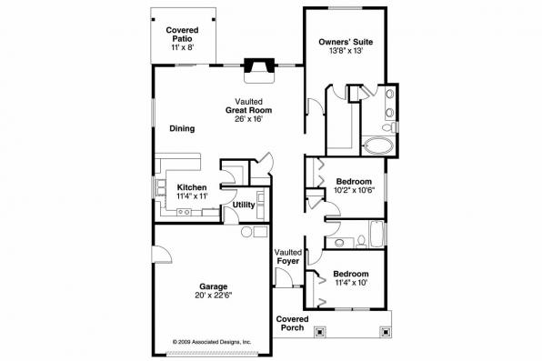 Craftsman House Plan - Westwood 30-693 - Floor Plan