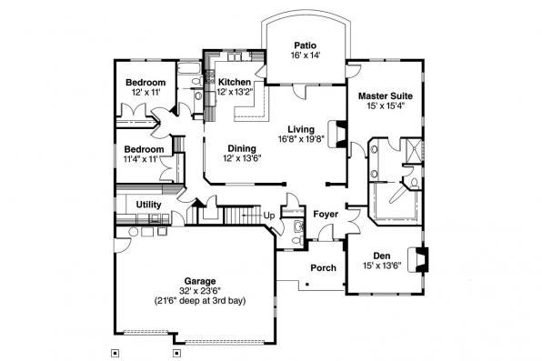 Craftsman House Plan - Whitingham 30-501 - 1st Floor Plan