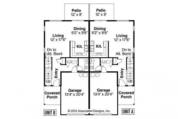 Duplex Plan - Bergen 60-026 - 1st Floor Plan