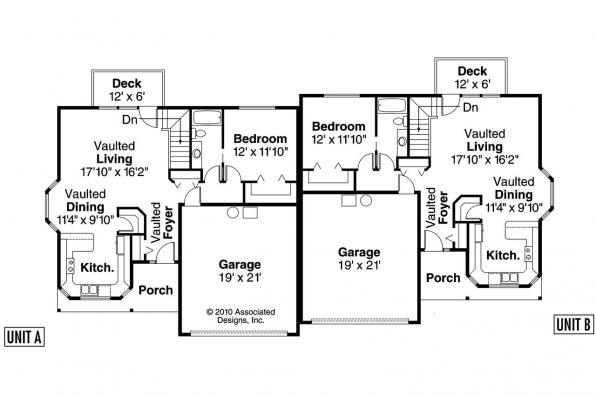 Country house plans krammer 60 022 associated designs Duplex floor plans with double garage