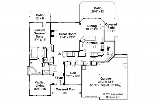 European House Plan - Balentine 30-340 - 1st Floor Plan