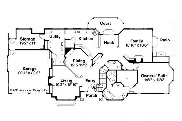 European House Plan - Brinton 30-178 - 1st Floor Plan