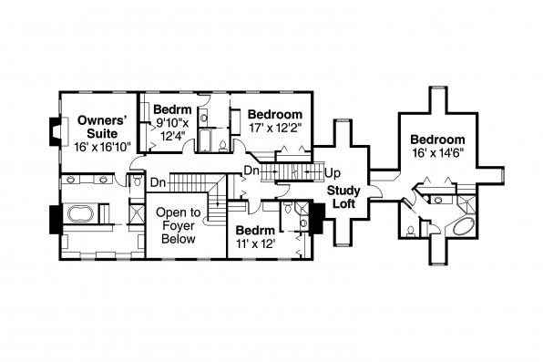 European House Plan - Edgewood 30-313 - Second Floor Plan