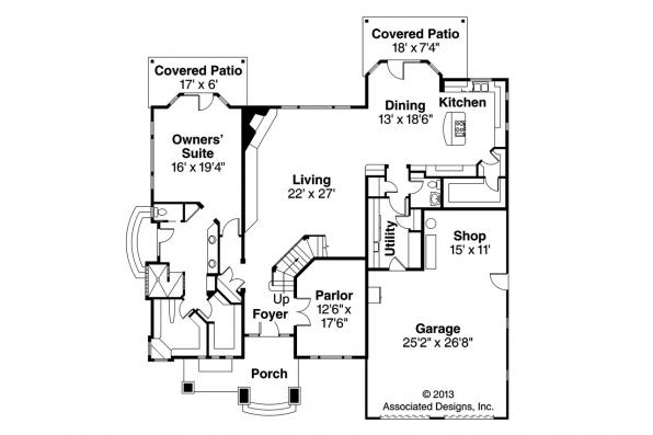 European House Plan - Hastings 30-361 - 1st Floor Plan