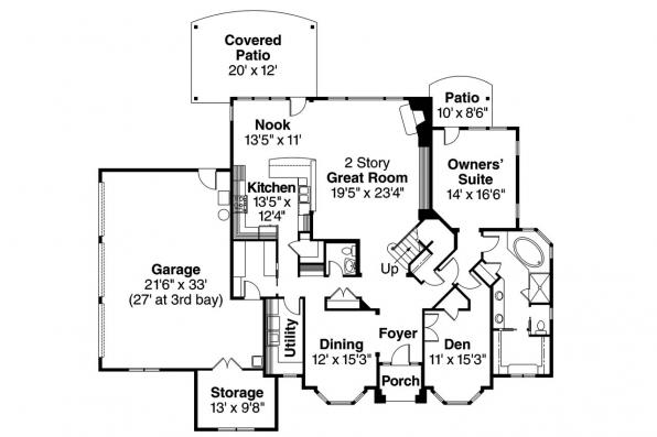 European House Plan - Westchase 30-624 - 1st Floor Plan