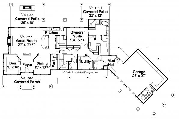 Lodge Style House Plan - Barnhart 30-946 - First Floor Plan