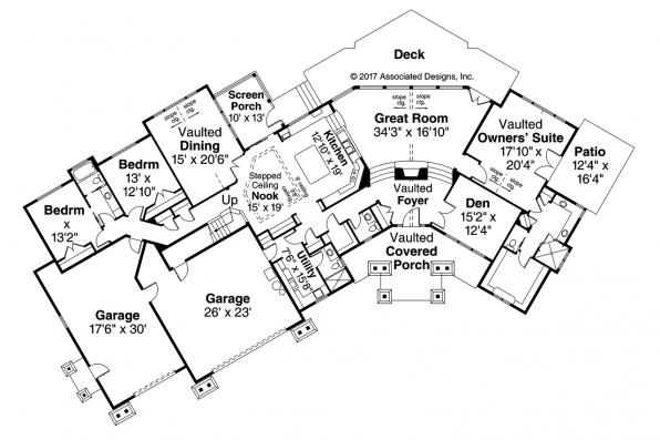 Lodge Style House Plan - Silverton 30-757 - First Floor Plan