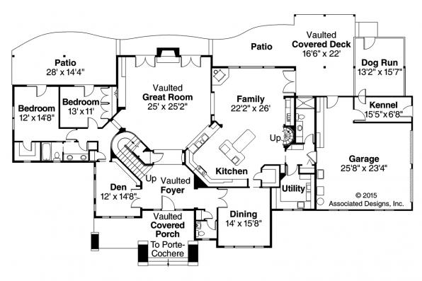 Ranch House Plan - Timberfield 30-341 - First Floor Plan