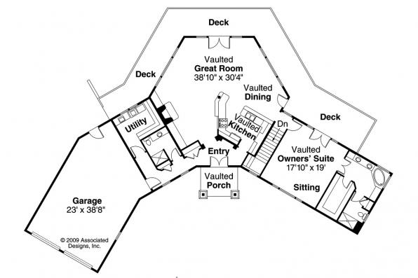 Lodge Style House Plan - Viewcrest 10-536 - 1st Floor Plan