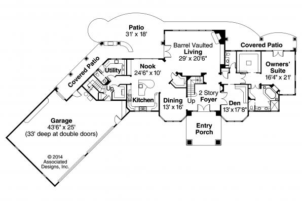 Mediterranean House Plan - Jacksonville 30-563 - First Floor Plan