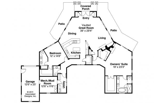 Prairie Style House Plan - Baltimore 10-554 - Floor Plan