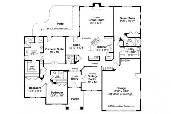Prairie Style House Plan - Crownpoint 30-790 - Floor Plan