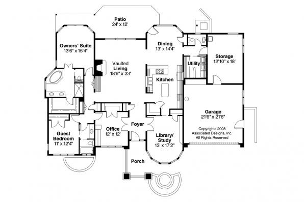 Prairie Style House Plan - Elmhurst 30-452 - Floor Plan