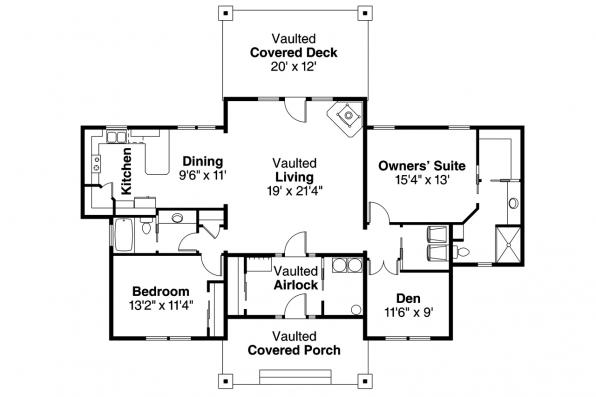 Prairie Style House Plan - Lakeville 30-998 - Floor Plan