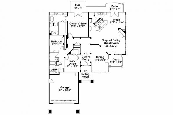 Prairie Style House Plan - Meadowbrook 30-659 - Floor Plan
