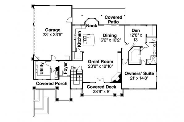 Prairie Style House Plan - Northshire 30-808 - Floor Plan