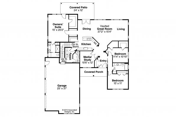 Ranch House Plan - Bakersfield 10-582 - Floor Plan
