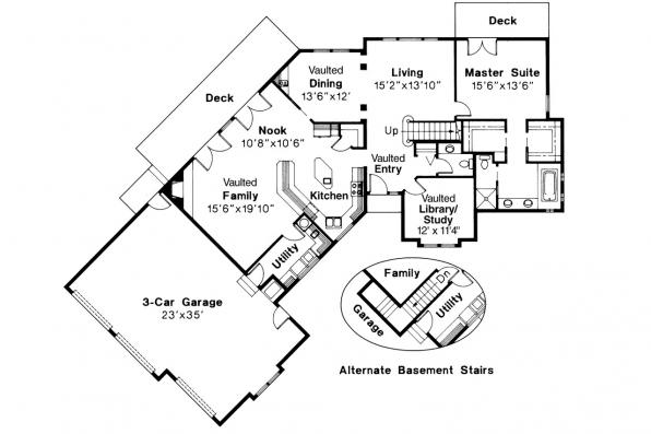 Ranch House plan - Beaumont 10-052 - 1st Floor Plan