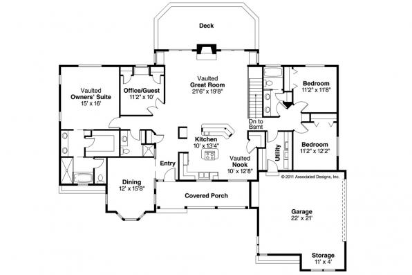 Ranch House Plan - Burlington 10-255 - Floor Plan